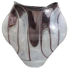 Exquisite Paper Thin Glass Latticino Vase. Likely Italian, Unknown Artist Mark