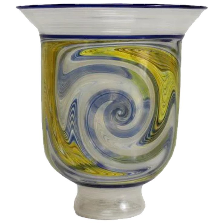 Exquisite Paper Thin Glass Latticino Vase Likely Italian Unknown