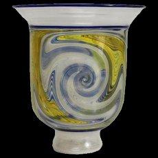 Exquisite Paper Thin Glass Latticino Vase. Likely Italian, Unknown Artist Mark