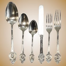 Gorham Mfg Co Sterling Silver 6 Piece Service for 12 in Medallion, Issued 1864
