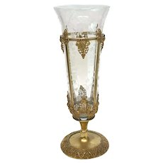 Continental Gilt Metal and Etched Glass Footed Vase