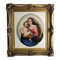 Large KPM Porcelain Plaque Madonna and Child after Rafael, circa 1890