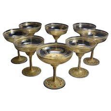 8 Venetian Gilt & Enamel Champagne Coupe Glasses, 19th Century