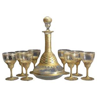 Venetian Gilt & Enamel Wine Glass & Decanter Set, 19th Century