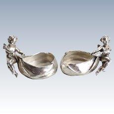 Mario Buccellati Silver Figural Cherub Open Salts Cellars, c1950