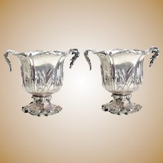 Pair Christofle Silver Plate Double Handle Champagne Coolers, c1850