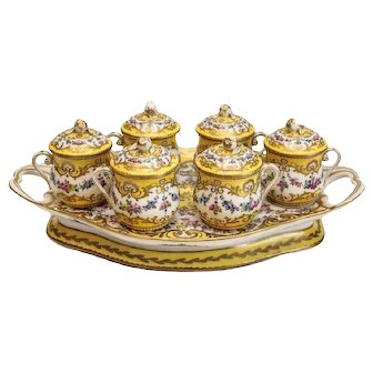 Sevres Fine Porcelain Custard Pot Service Set with Stand Floral Garlands