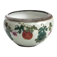 Antique Chinese Enamel Ceramic Bowl, 19th Century. Florals & Vines
