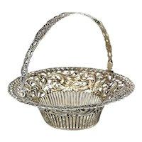 German .800 Silver Pierced Basket, circa 1900,  Raised Foliate Scroll Design