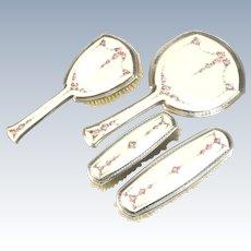 4 Piece Sterling Silver & Guilloche Enamel Vanity Set by R. Blackinton Company