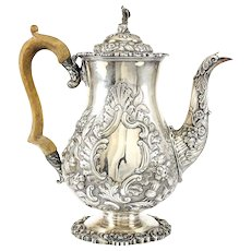 John & Thomas Settle Sheffield George IV Sterling Silver Chinoiserie Coffee Pot,  1824