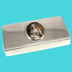 Tiffany & Co. Sterling Silver Box with Porcelain Portrait Plaque, Mid Century