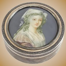 Lapparra & Gabriel French .950 Silver Portrait Trinket Dresser Box, circa 1910