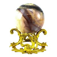 Married Jasper Sphere on Gilt Foliate Bronze Base, Colorful Purple & White Bands
