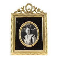 Miniature Gilt Bronze Photo Frame with Easel Back & Black Velvet Border