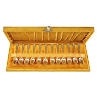 """12 Piece Sterling Silver Demitasse """"Partridgeberry"""" Spoon Set by Whiting Mfg. Co."""
