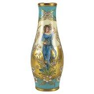 Dresden Hand Painted Porcelain Vase by Richard Klemm, Art Nouveau circa 1920