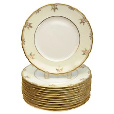 12 Lenox for Tiffany & Co. Porcelain Dinner Plates, circa 1915. Hand Painted