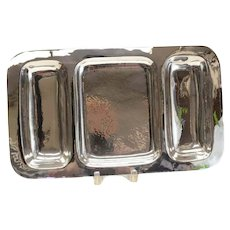 Allan Adler Modernist Sterling Silver 3 Compartment Centerpiece Tray, c.1950