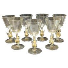 7 Salviati Venetian Gold Fleck Swan Stem Water Goblets Circa 1960