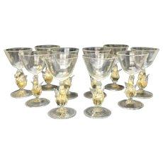 10 Salviati Venetian Gold Fleck Swan Stem Cordial Wine Goblets