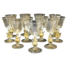 11 Salviati Venetian Gold Fleck Swan Stem Wine Goblets CIrca 1970