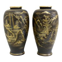 Pair Japanese Satsuma Pottery Vases Black Matte Glaze Handpainted Gold Gilt