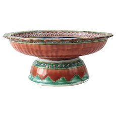 Antique Chinese Ceramic Footed Compote for the Thai Market, 18th Century