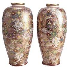 Pair Japanese Satsuma Hyozan or Hiozan Porcelain Vases, circa 1912-1926