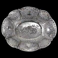 Antique German 800 Silver Pierced Basket, circa 1900. Repousse Cherubs