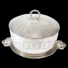 Antique Cheong Shing Chinese Silver Lidded Bowl and Underplate, circa 1910