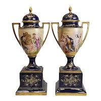 Fine Antique Pair of Royal Vienna Style Double Handled Urns, c.1900. Signed
