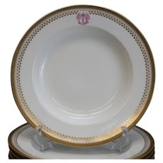 10 Spode Porcelain Majestic Soup Plates Armorial Sir Peter Coats of Glasgow
