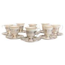 8 Gorham Sterling Silver & Lenox Porcelain Demitasse Cups & Saucers #A5549