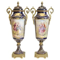 Sevres Style France Hand Painted Double Handled Urns, c1900. Signed Rochette