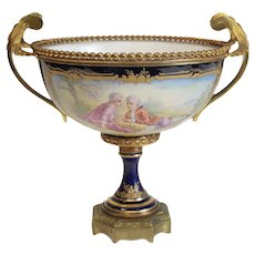 Sevres Style France Hand Painted Footed Centerpiece Bowl, circa 1900. Signed Rochette