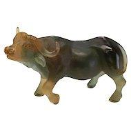 Daum France Art Glass Pate De Verre Wild Buffalo Figurine