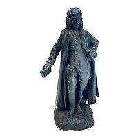 Wedgwood Black Basalt Pottery Bust Sculpture, Voltaire, 19th Century
