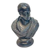 Wedgwood Black Basalt Pottery Bust Sculpture, Walter Scott, 19th Century
