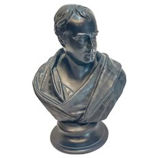 Wedgwood Black Basalt Pottery Bust Sculpture, Walter Scott, 19th Century