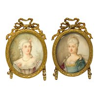 Pair Continental Gouache Miniature Portrait of a Beauties, 19th Century