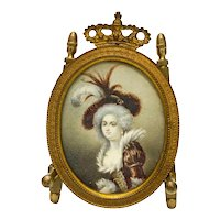 Continental Hand Painted Gouache Miniature Portrait of a Beauty, 19th Century