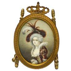 Continental Hand Painted Gouache Miniature Portrait of a Beauty, 19th Century