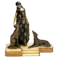 Georges Van De Voorde Art Deco Style Patinated & Silvered Metal Sculpture Maiden & Dog