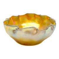 LCT Louis Comfort Tiffany Gold Favrile Ruffled Rim Bowl, circa 1900