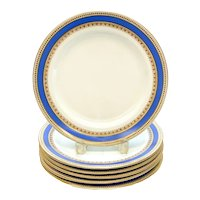 6 Royal Worcester for Tiffany & Co. Porcelain Periwinkle Dinner Plates, 1873