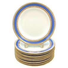 10 Royal Worcester for Tiffany & Co. Porcelain 8.75 inch Plates, 1873