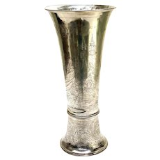 Large Georg Roth German Hanau Silver Hand Chased Warriors Vase, circa 1900