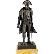 V. Riviere (French 19th / 20th Century) Patinated Bronze Miniature Sculpture of Napoleon on Marble Base