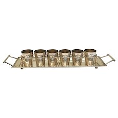 Lutz & Weiss German 800 Silver Fitted Vodka Shot Cups & Tray w. Armorial, c1990